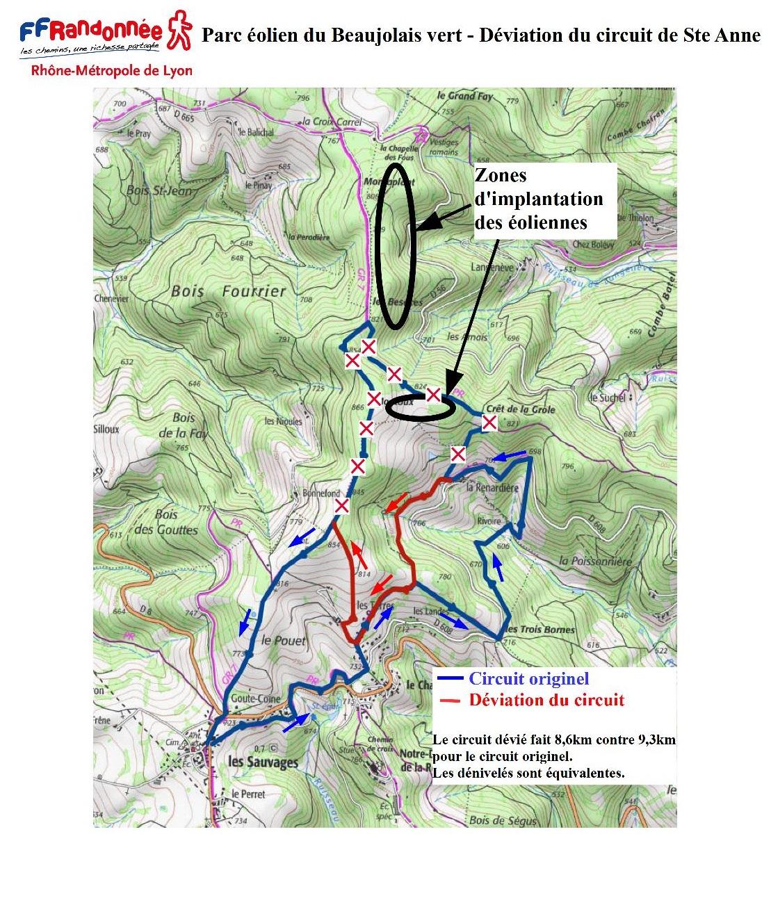 ffrandonnee rhone carte déviation circuit de Sainte-Anne