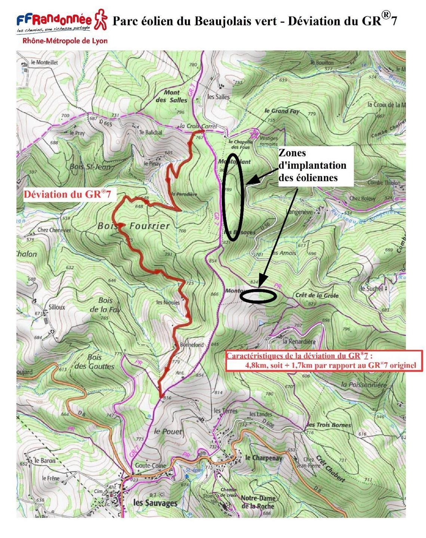 ffrandonnee rhone carte deviation GR®7 nord commune Les Sauvages