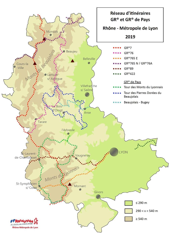 carte GR® et GR®P du Rhône