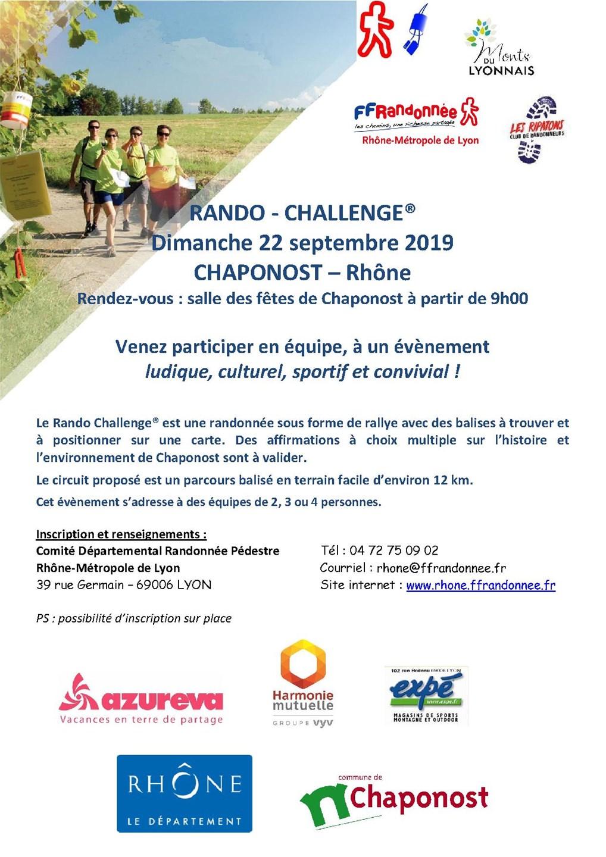 ffrandonnee rhone rando challenge® flyer 2019