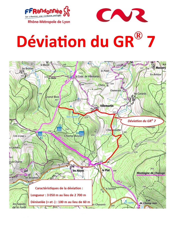 carte déviation GR®7 Saint-Bonnet-des-Bruyères