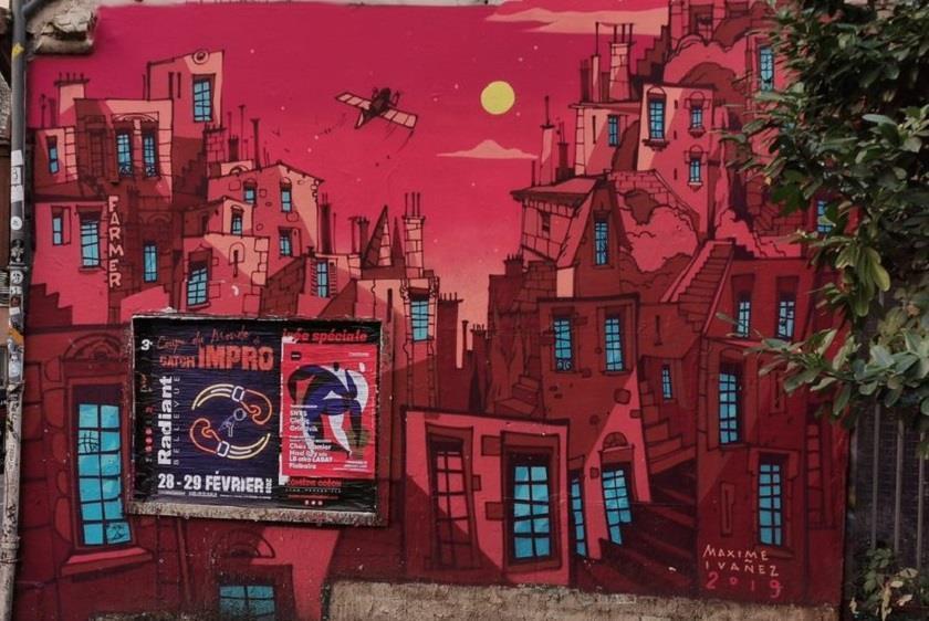 Mur peint ephemere rue des Carmélites
