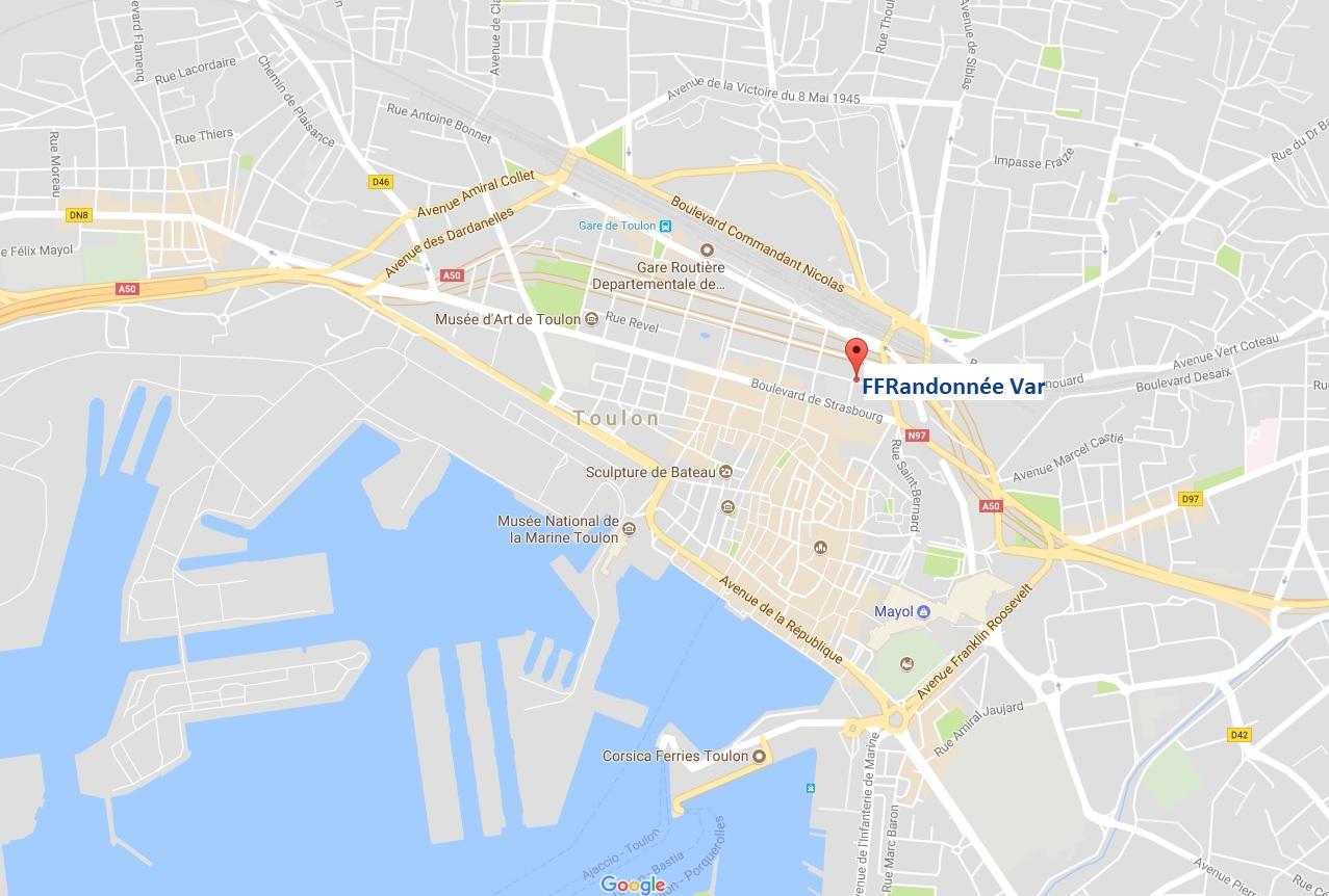 Plan de la FFRandonnée Var, comité départemental de la randonnée pédestre situé en plein cœur de la ville de Toulon, au bord de la mer Méditerranée.