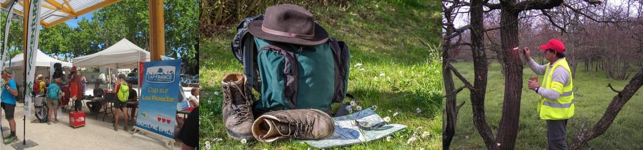 Stands des partenaires de la FFRandonnée Var lors de la Fête de la Randonnée. Sac, chapeau, chaussures et carte en pleine nature. Un bénévole chargé du balisage.