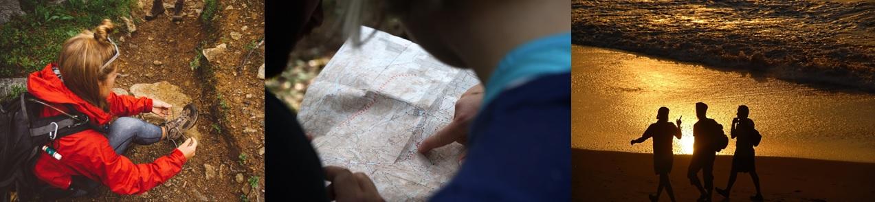 Randonneuse FFRandonnée Var qui attache ses chaussures de marche. Des randonneurs lisent une carte pour s'orienter. Un groupe marche au bord de mer.