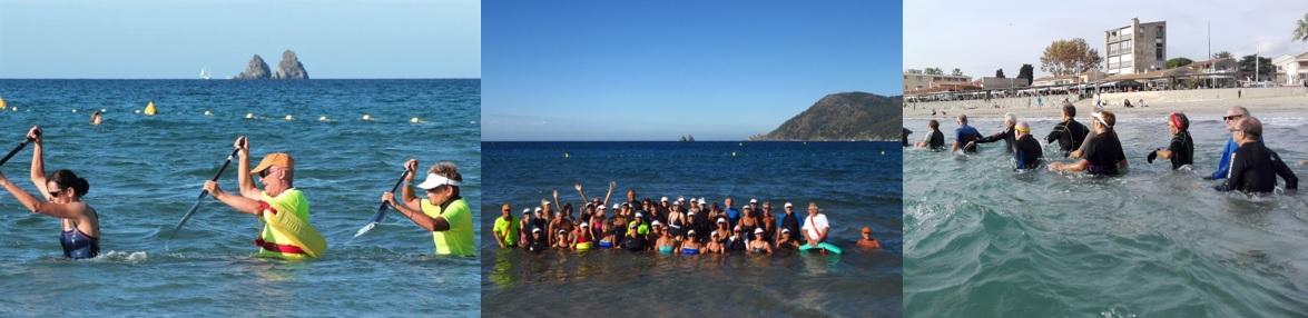 Pratiquants du longe-côte marche aquatique avec pagaies aux Sablettes à La Seyne-sur-Mer. Groupe des Randonneurs Seynois en mer Méditerranée.
