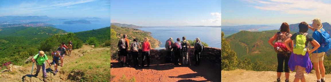 Randonneurs à la Forêt de Janas à La Seyne-sur-Mer, surplombant Toulon, la presqu'ile de Giens de Hyères-les-Palmiers. Groupe et panorama sur la Méditerranée.