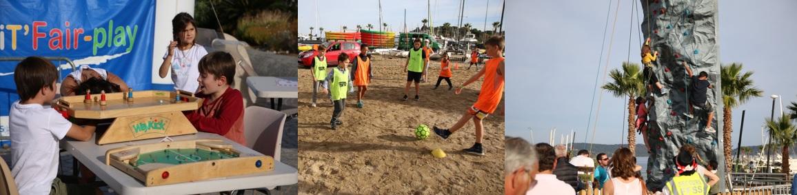 Enfants qui jouent au babyfoot, au foot sur un terrain de sable et qui grimpent un mur d'escalade.