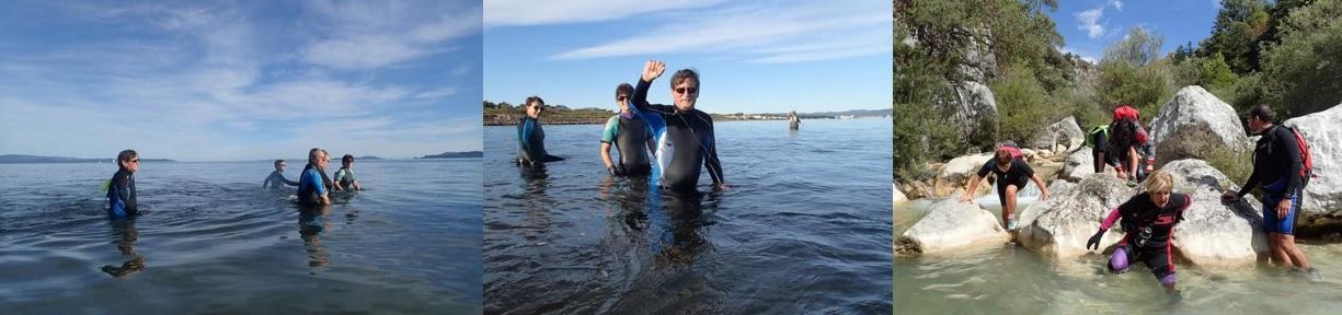Groupes de pratiquants en longe côte marche aquatique aux Sablettes à La Seyne-sur-Mer et dans le Parc Naturel Régional du Verdon.
