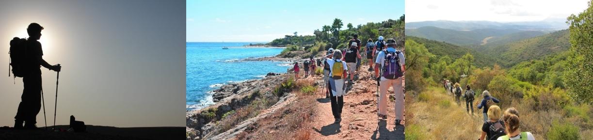 Un randonneur muni de bâtons de marche nordique. Des marcheurs sur un sentier du littoral du Var. Un club de la FFRandonnée Var dans le massif des Maures.
