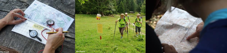 Le Rando Challenge® se pratique avec une carte et une boussole. Les participants en équipe doivent s'orienter pour trouver les balises. Randonneurs s'orientant.