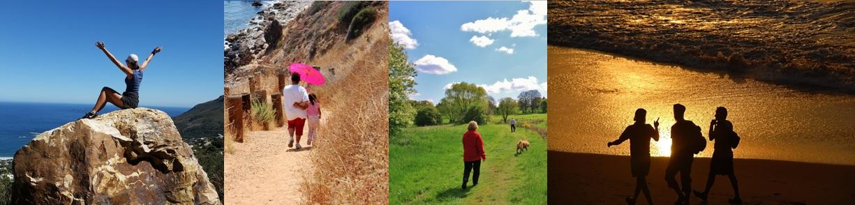 Randonneuse sur le rocher de Roquebrune. Une famille sur le sentier du littoral varois. Un marcheur et son chien. Un club de la FFRandonnée Var en bord de mer.