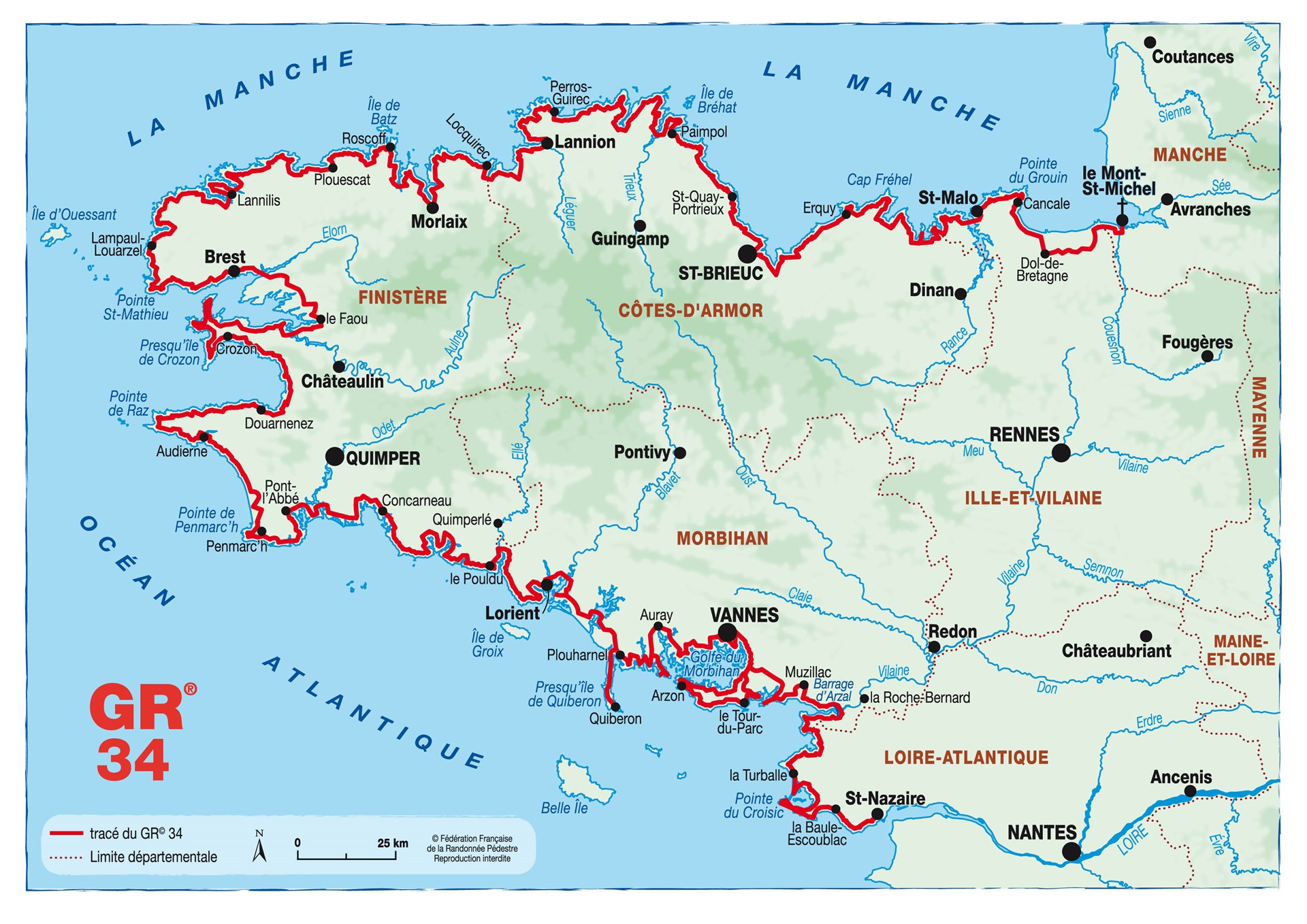 sentier des douaniers carte Randonner sur le GR® 34   Le site officiel de la FFRandonnée Bretagne