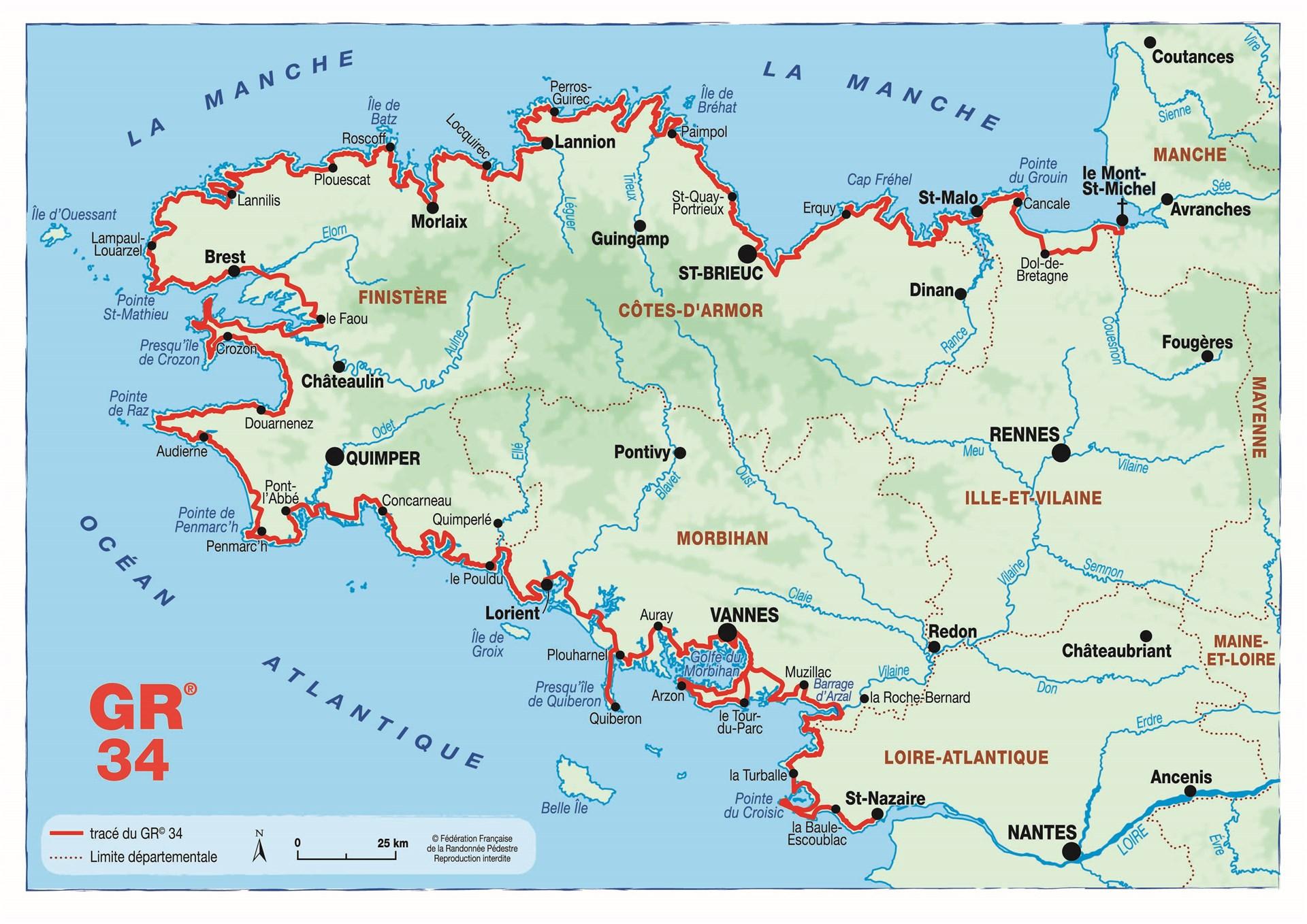Carte - FFRandonnée - GR - GR34 - Bretagne