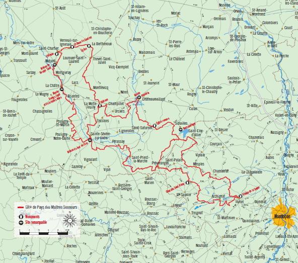 Carte de localisation GR de Pays Val de Creuse
