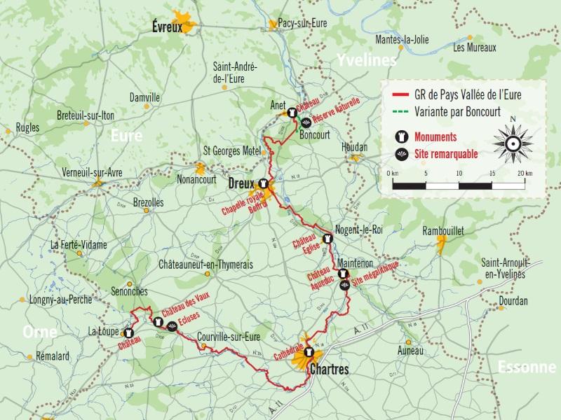 Carte de localisation du GR de Pays Vallée de l'Eure