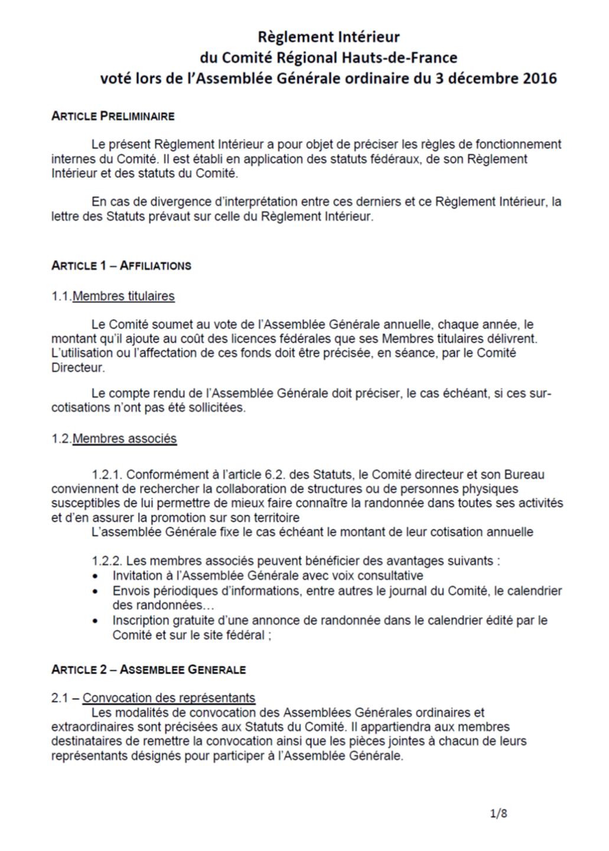 Règlement Intérieur Comité Régional randonnée Hauts-de-France
