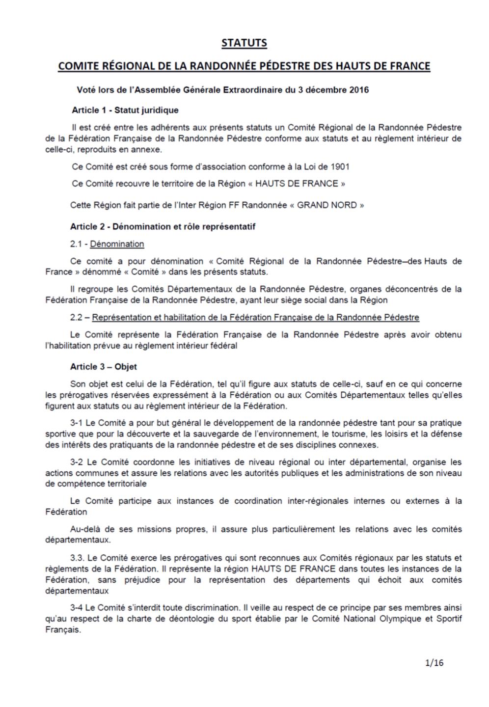 Statuts comité régional randonnée Hauts-de-France
