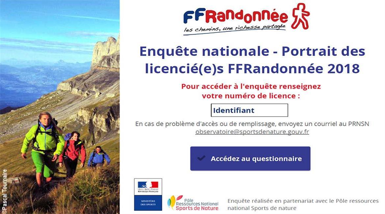 Enquête nationale auprès des licencié(e)s de la FFRandonnée
