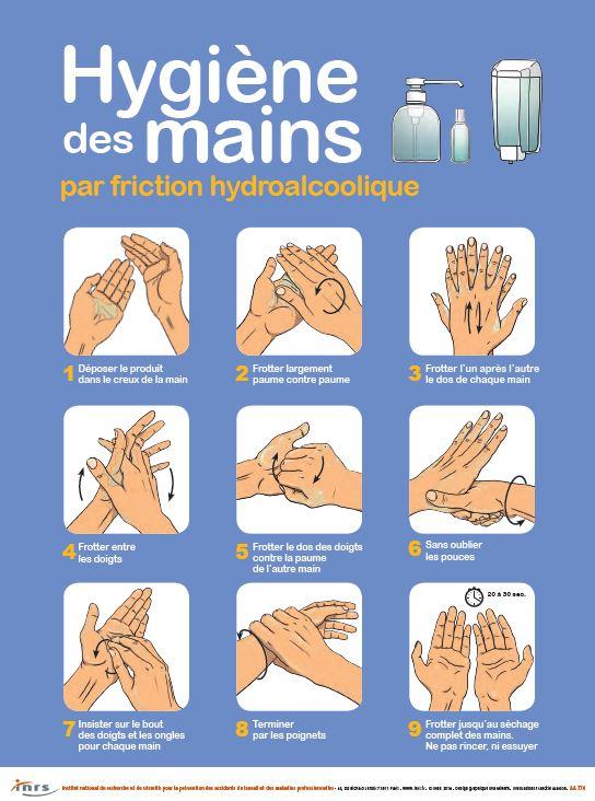 Quelques conseils pour respecter une hygiène de mains par friction hydro alcoolique