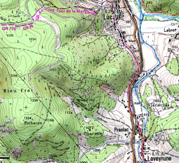 Carte de Luc à Pranlac-Laveyrune